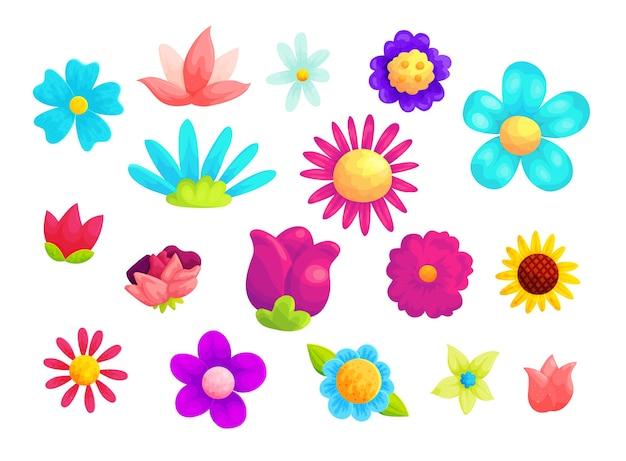Conjunto de ilustrações de desenhos animados de flores de verão desabrochando.