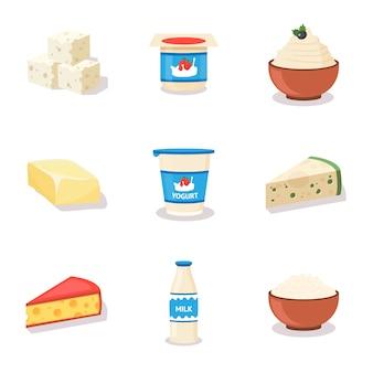 Conjunto de ilustrações de desenhos animados de produtos lácteos