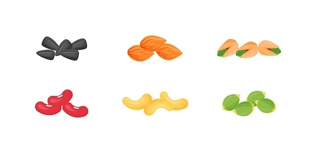 Conjunto de ilustrações de desenhos animados de sementes, nozes, feijão. sementes de girassol e abóbora. objetos de cor lisa de amêndoas, pistache, caju. fonte de proteína e óleo.