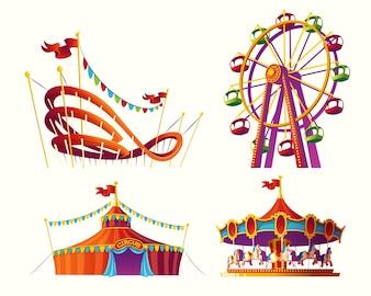 Conjunto de ilustrações de desenhos animados de vetores para um parque de diversões