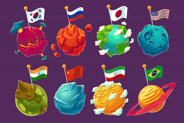 Conjunto de ilustrações de desenhos animados de vetores planetas alienígenas de fantasia com bandeiras voando sobre eles