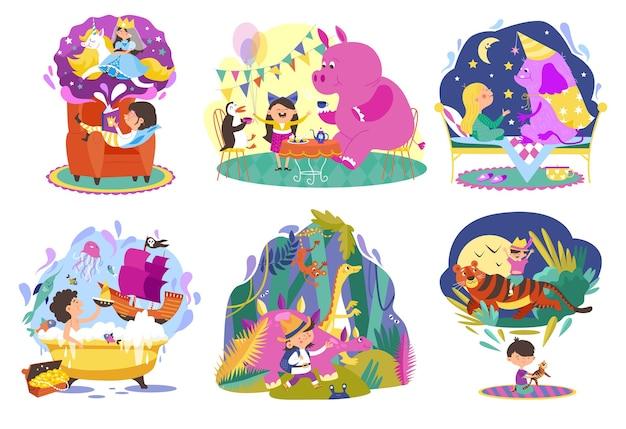 Conjunto de ilustrações de desenhos animados do mundo de fantasia