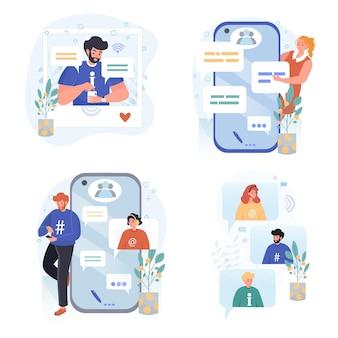 Conjunto de ilustrações de design plano de desenvolvimento de aplicativos