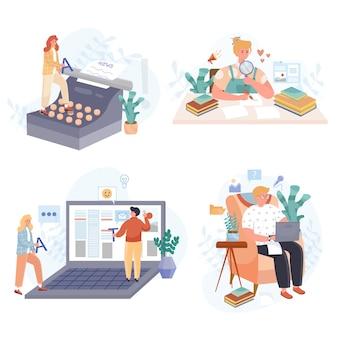 Conjunto de ilustrações de design plano de mídia social