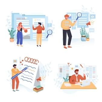 Conjunto de ilustrações de design plano de otimização de seo