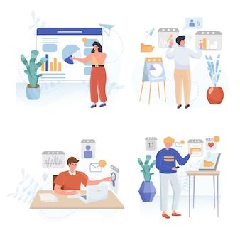 Conjunto de ilustrações de design plano de planejamento de negócios