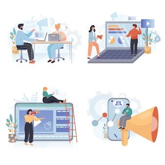 Conjunto de ilustrações de design plano para trabalho freelance e remoto