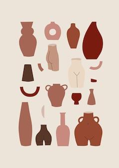 Conjunto de ilustrações de diferentes formas de vasos e vasos decorativos em tons pastel