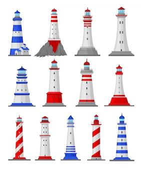 Conjunto de ilustrações de diferentes tipos de faróis. ilustração.
