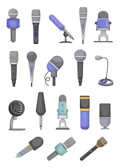 Conjunto de ilustrações de diferentes tipos de microfones