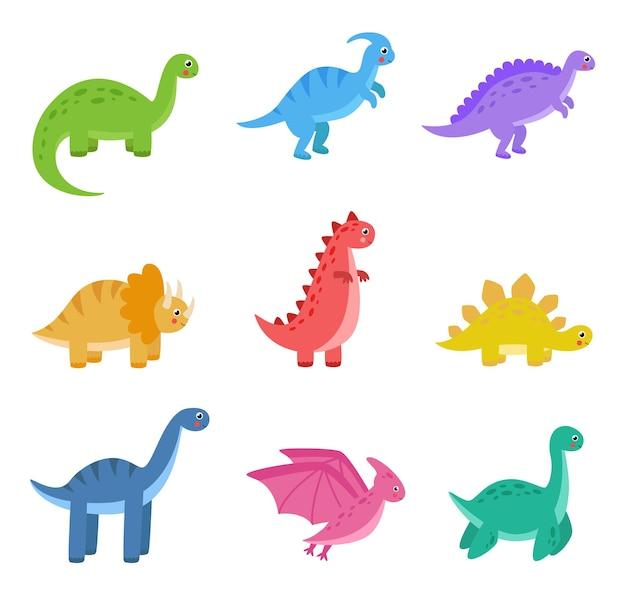 Conjunto de ilustrações de dinossauros de desenhos animados fofos