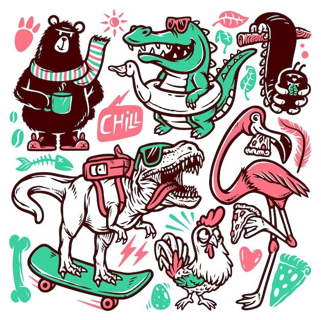 Conjunto de ilustrações de doodle de animais