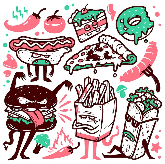 Conjunto de ilustrações de doodle de comida