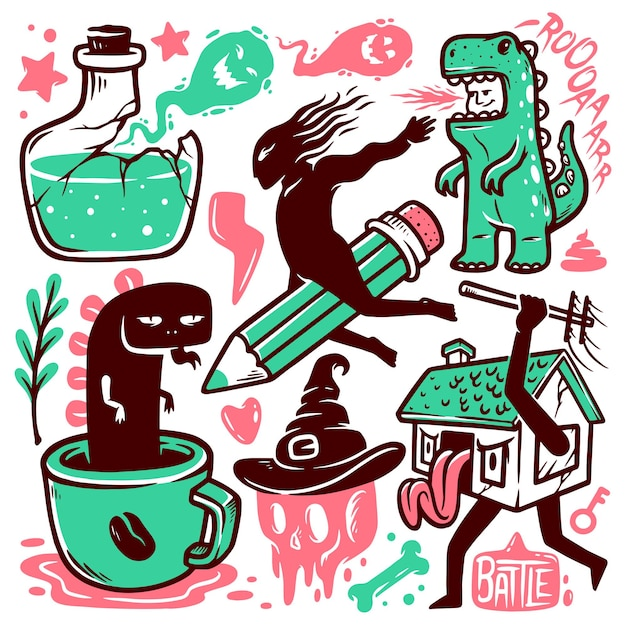 Conjunto de ilustrações de doodle de monstro