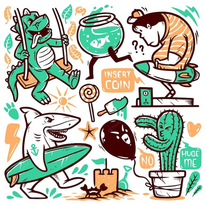 Conjunto de ilustrações de doodle fofas