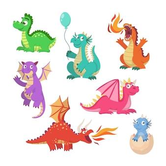Conjunto de ilustrações de dragões de contos de fadas dos desenhos animados