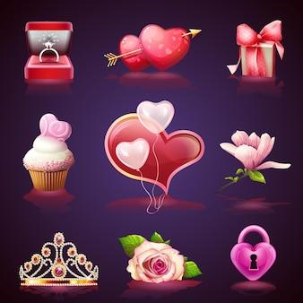 Conjunto de ilustrações de elementos coloridos anel de dia dos namorados, flores, coração, presentes
