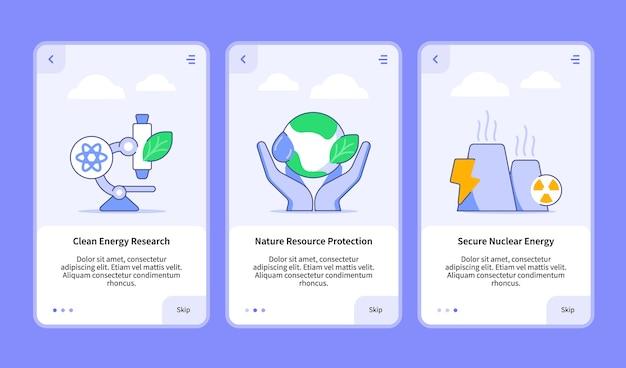 Conjunto de ilustrações de energia renovável para aplicativo móvel