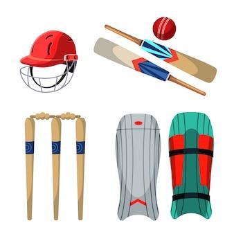 Conjunto de ilustrações de equipamento de críquete, capacete e almofadas de proteção, bola, postigo de madeira e tacos.