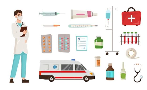 Conjunto de ilustrações de equipamentos e personagens de desenhos animados do médico
