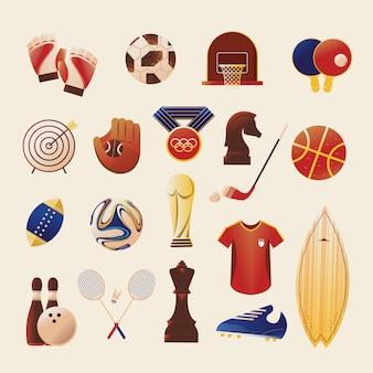 Conjunto de ilustrações de esporte de ícone