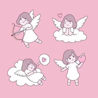 Conjunto de ilustrações de fada apaixonada