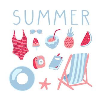 Conjunto de ilustrações de férias de verão.