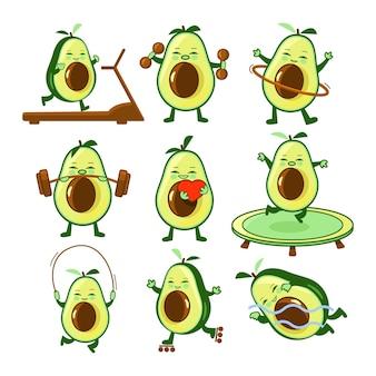 Conjunto de ilustrações de fitness com abacate, halteres de esteira e coração de barra