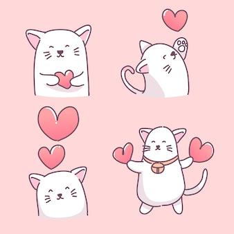 Conjunto de ilustrações de gatinho apaixonado por corações