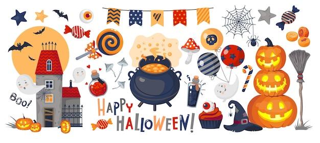Conjunto de ilustrações de halloween: abóbora, fantasmas, castelo assombrado, poção, pote, guirlanda, doces, chapéu de bruxa, inscrição de feliz dia das bruxas.