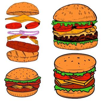 Conjunto de ilustrações de hambúrguer. elementos para cartaz, menu, etiqueta, crachá, sinal. ilustração