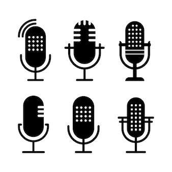 Conjunto de ilustrações de ícone de rádio em preto e branco