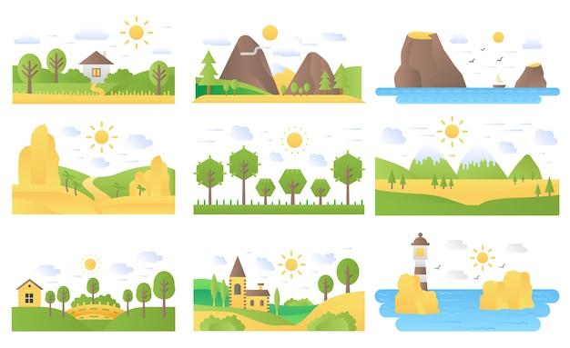 Conjunto de ilustrações de ícones de natureza de conceito plano de desenho de paisagem