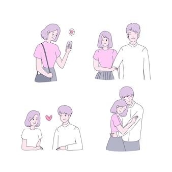 Conjunto de ilustrações de jovem feliz e menino apaixonado
