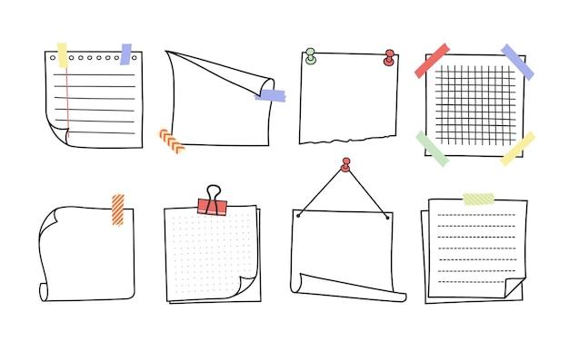 Conjunto de ilustrações de lembretes e notas de memorando desenhadas à mão doodle