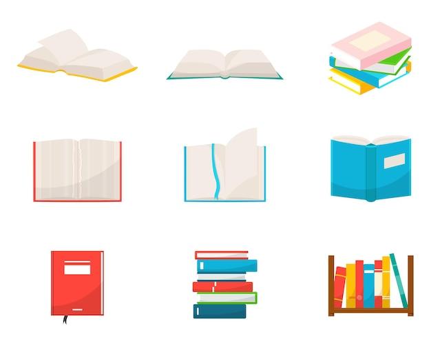 Conjunto de ilustrações de livros cadernos escolares com folhas vazias blocos de notas pilhas de livros didáticos
