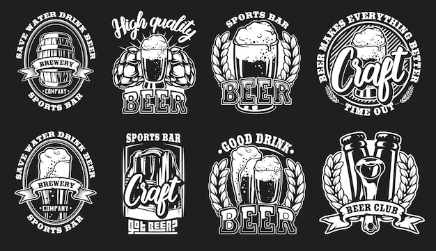Conjunto de ilustrações de logotipos de cerveja para um fundo escuro.