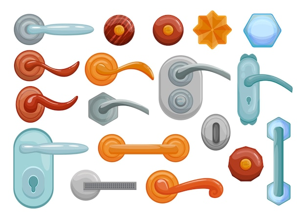 Conjunto de ilustrações de maçanetas e maçanetas