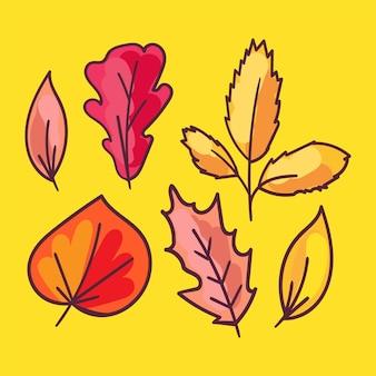Conjunto de ilustrações de mão desenhada de folhagem de outono. folhas de árvores, herbário isolado em fundo amarelo