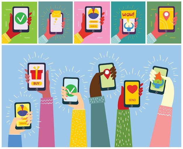 Conjunto de ilustrações de mão segurando o smartphone com nova mensagem na tela