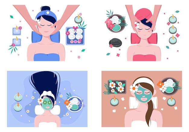Conjunto de ilustrações de massagem e spa corporal