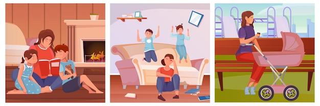 Conjunto de ilustrações de maternidade