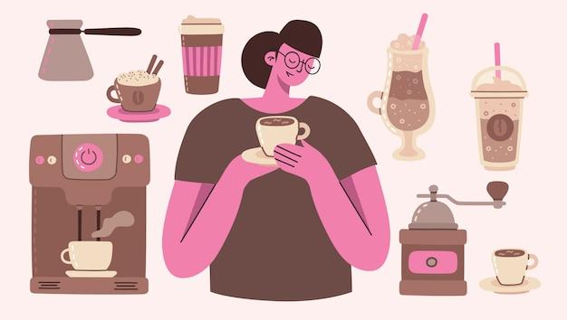 Conjunto de ilustrações de menina e café