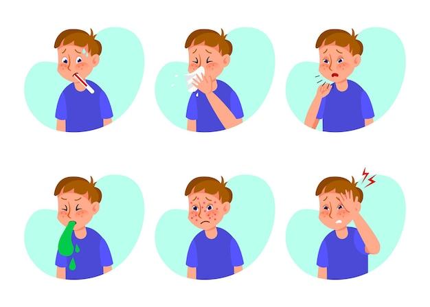 Conjunto de ilustrações de menino doente com gripe ou resfriado