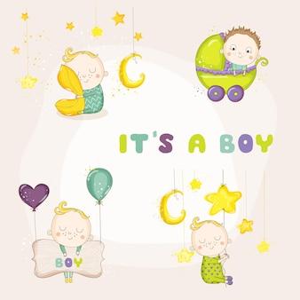 Conjunto de ilustrações de menino fofo