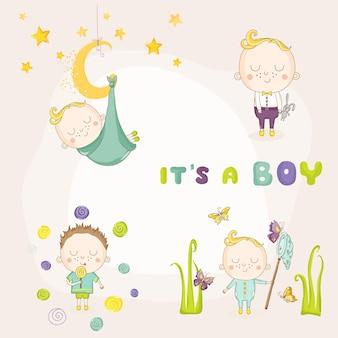 Conjunto de ilustrações de menino