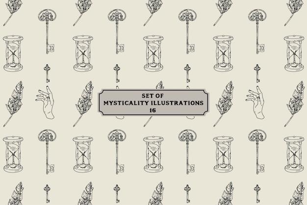 Conjunto de ilustrações de misticismo