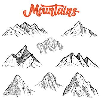 Conjunto de ilustrações de montanha desenhadas à mão.