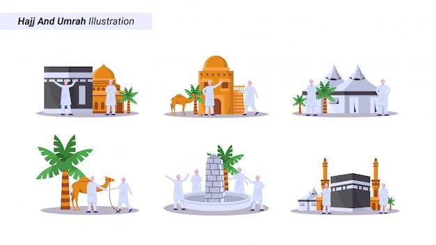 Conjunto de ilustrações de muçulmanos fazendo a peregrinação, tawaf em frente à kaaba na grande mesquita
