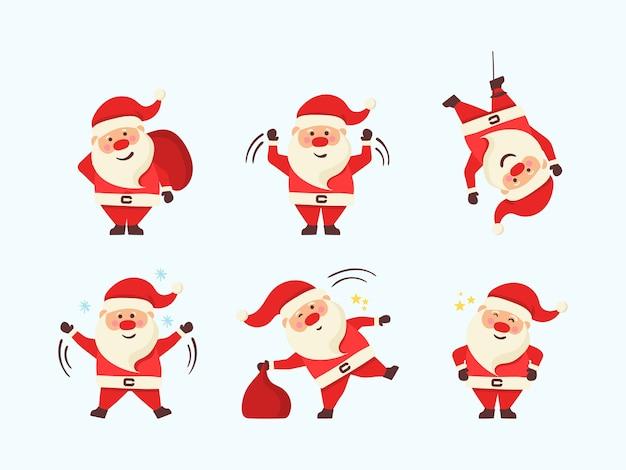 Conjunto de ilustrações de natal dos desenhos animados em fundo branco.